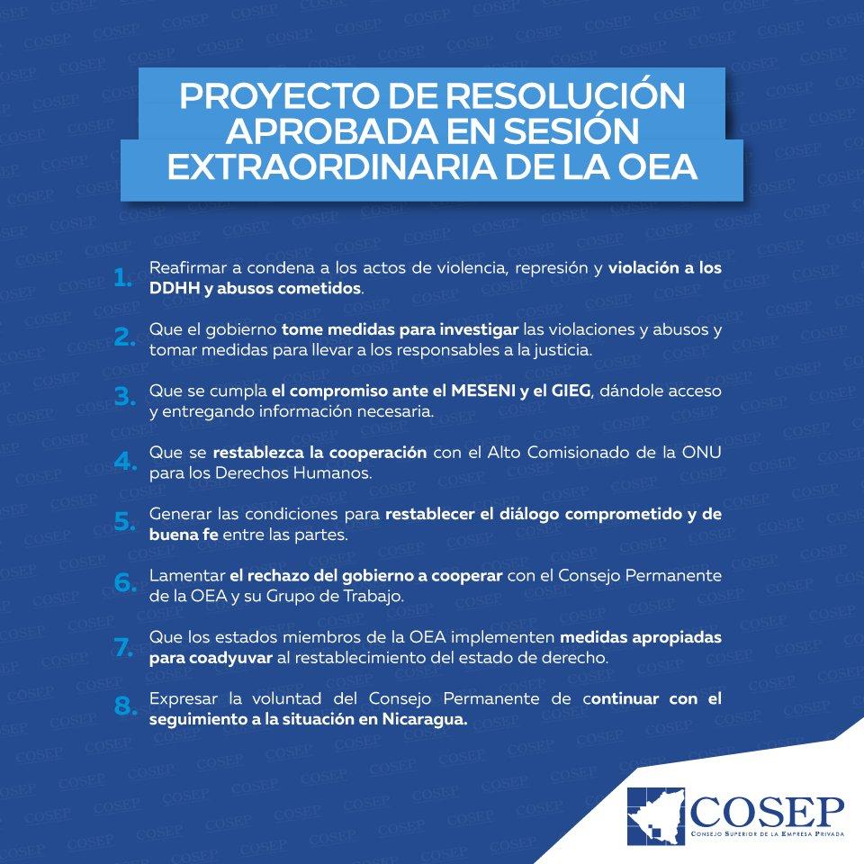 COSEP Nicaragua\'s Tweet - \