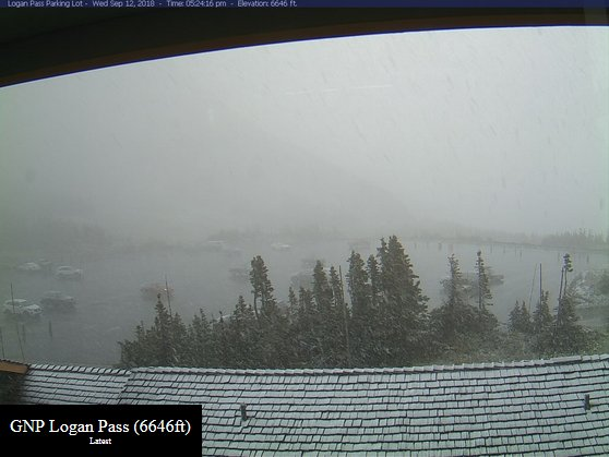 It is currently snowing at Logan Pass at @GlacierNPS at 6646ft! #MTwx #HereComesFall