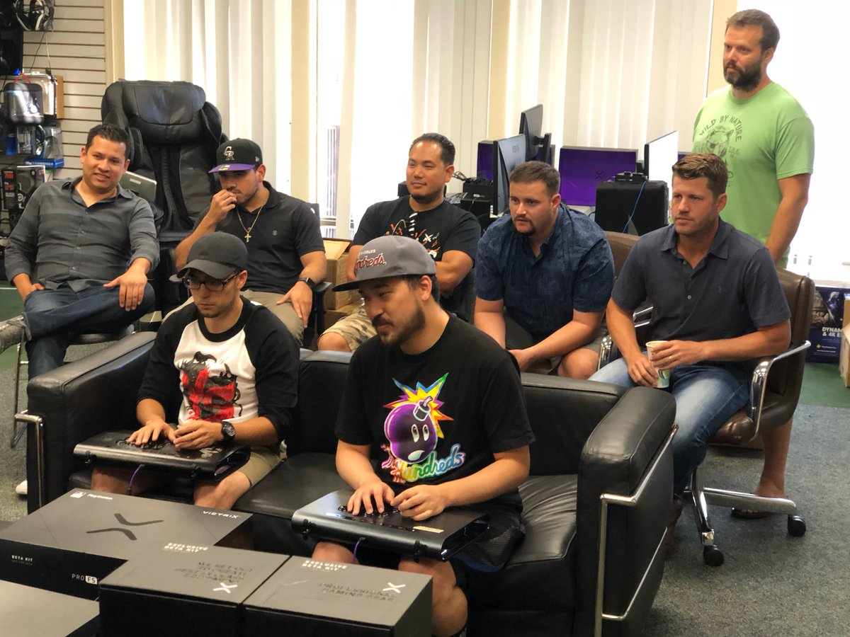 After a day of stress testing of our latest #ProFS pre-production firmware in our San Diego office, @SD_Toki takes on @PnoySD for one of our fight stick prototypes with Victrix engineers cheering on. Thanks for the development help guys & good luck at #SCR2018 #ProAF #PurpleX