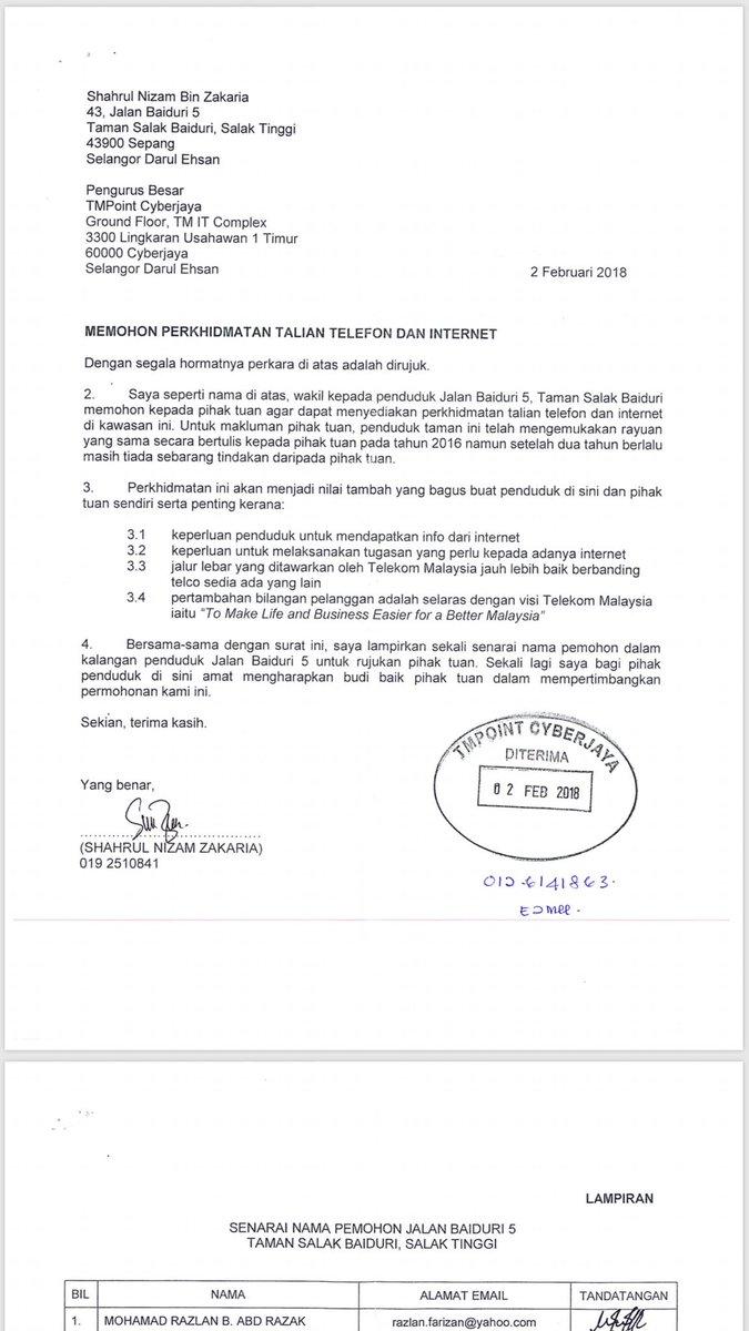 Saniesan On Twitter Surat Penduduk Yg Apply Untuk Unifi