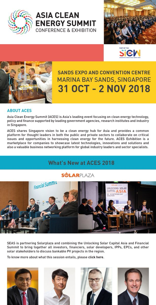 The Asia Clean Energy Summit 2018 is part of the Singapore International Energy Week 2018. Register here now(https://t.co/qxT0a58zH3) to join  the Asia Clean Energy Summit 2018! https://t.co/u5sLNZCOEh