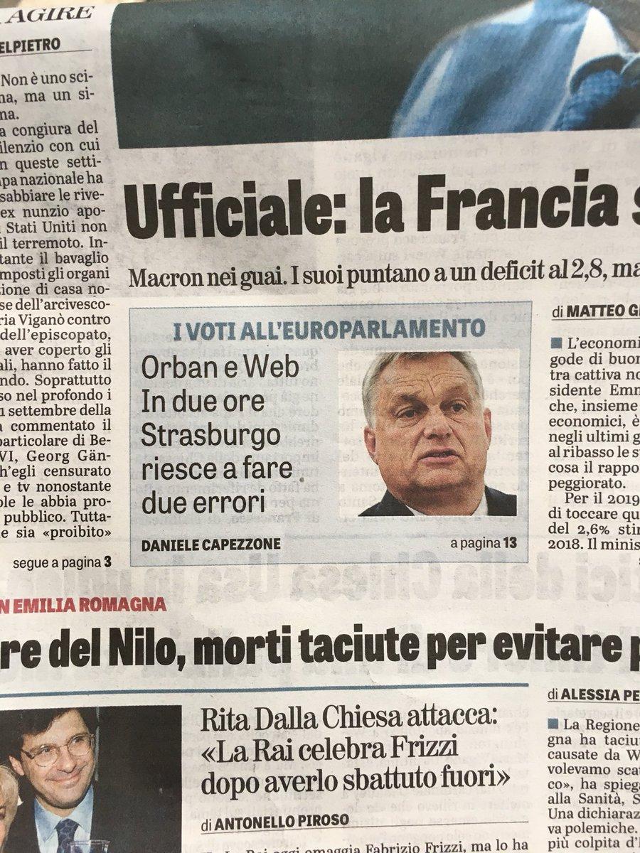 Su @LaVeritaWeb Caos su #Orban. Processo a un governo liberamente eletto. #Ppe a pezzi. #M5S non capisce che dopo Budapest sarà Roma nel mirino. Su #copyright altro errore: problema vero, soluzione pessima. Ps: commento in controtendenza rispetto all'Editorialista Unico   - Ukustom