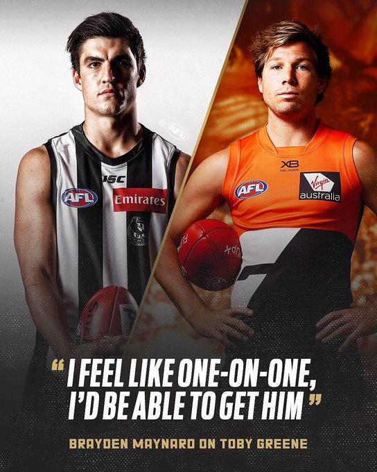 Brayden Maynard is ready for his match up with Toby Greene on Saturday night 👊 #AFLPiesGiants tickets: #AFLFinals Photo