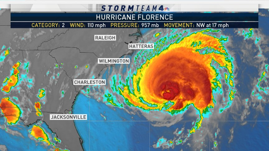 Hurricane #Florence weakens to a category 2 storm, but that does not diminsh the threat of catastrophic flooding as the storms is expected to stall once onshore.  #NBC4NY