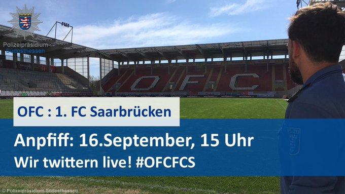 Am Sonntag spielen die @OFC_offiziell gegen @ersterfcs aus Saarbrücken in #Offenbach. ⚽ Anpfiff: 15 Uhr! Wir sind für Euch da und versorgen Euch mit Infos rund um die Partie. #OFCFCS Foto