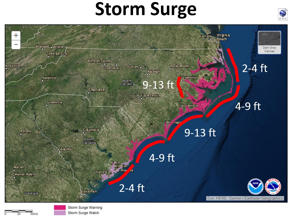 Do not focus on the wind speed category of #Hurricane #Florence! Life-threatening storm surge flooding, catastrophic flash flooding and prolonged significant river flooding are still expected. More: hurricanes.gov