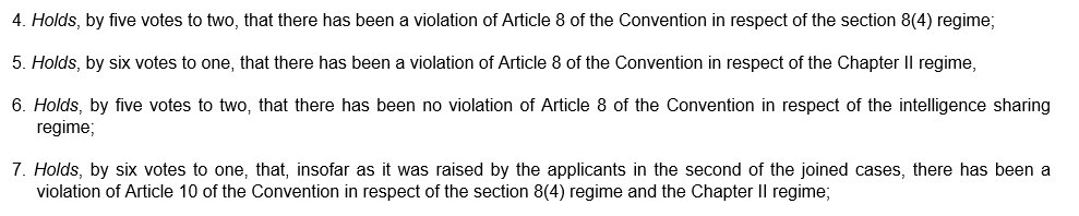 Here we go, ECtHR holdings on #RIPA. Lots more to come about the reasons...