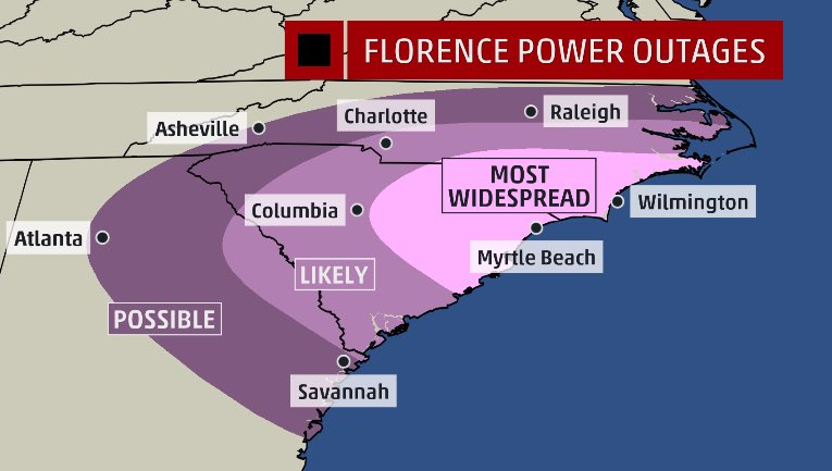 Jim Cantore S Tweet Power Outage Potential Florence On Trendsmap