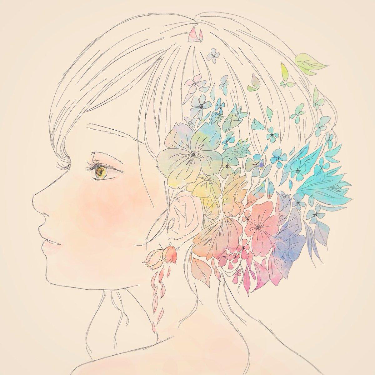 ね あ A Twitter 女の子イラスト 花 植物 グラデーション