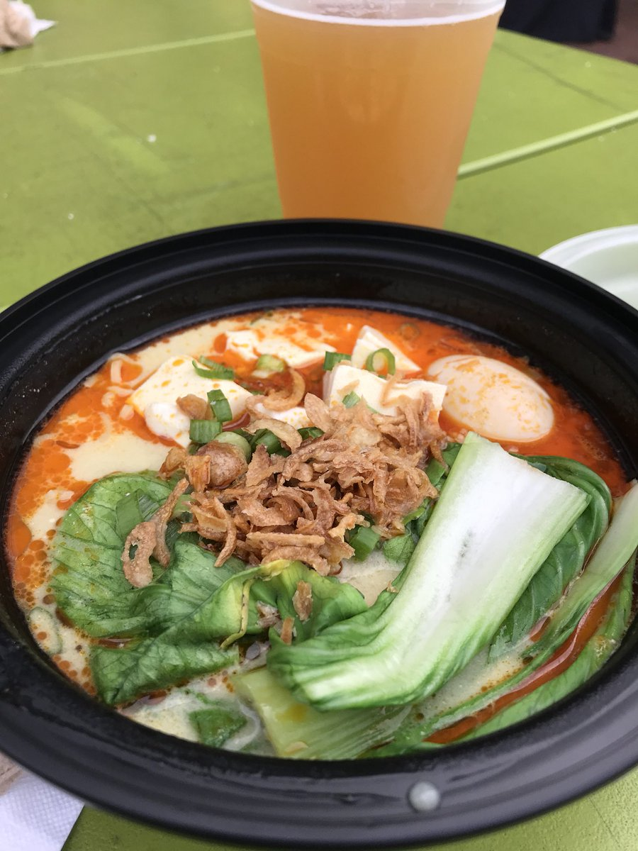 Last #FoodPorn today! (I promise!) Malaysian style ramen with soft boiled egg, bok choy, and tofu - and a cold one! https://t.co/jPkDApSA1o