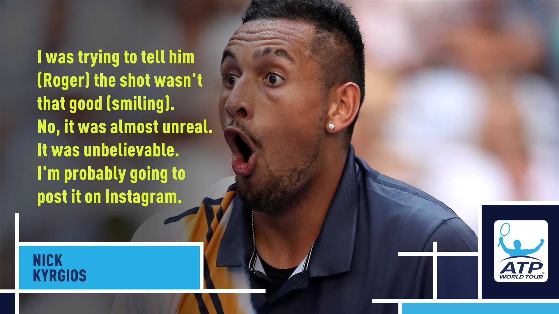 .@NickKyrgios on THAT @rogerfederer shot: ��   #USOpen https://t.co/tV462a08tB