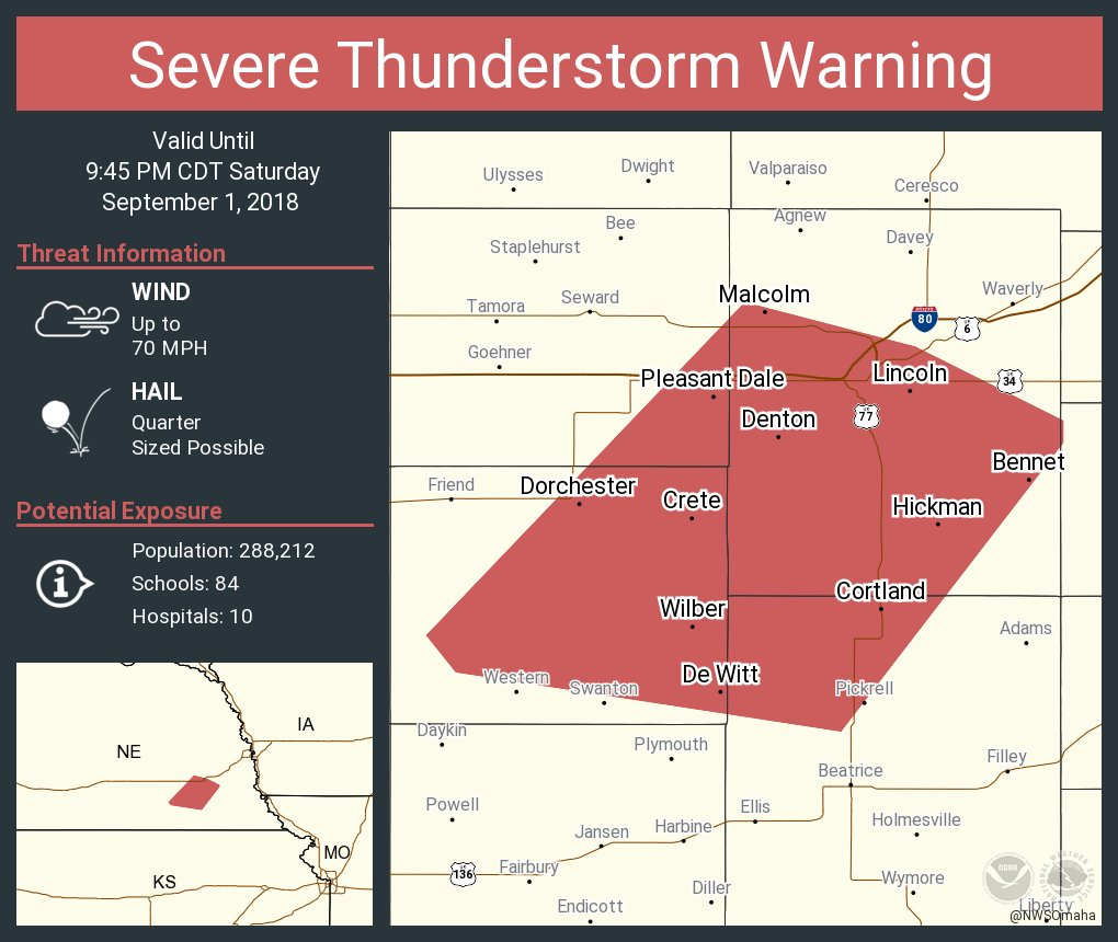 Nws Omaha On Twitter Severe Thunderstorm Warning Including