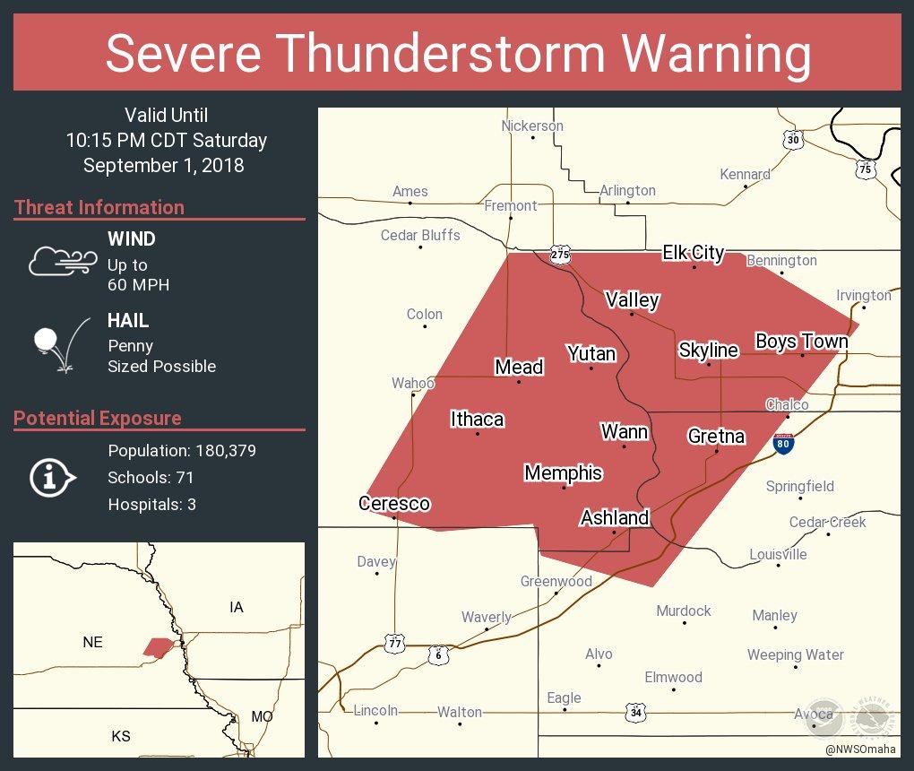 Nws Omaha On Twitter Severe Thunderstorm Warning Including Gretna