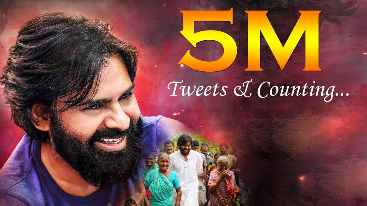 First ever 5 Million tweets for a Birthday Trend 👌  #HBDJanaSenaniPawanKalyan