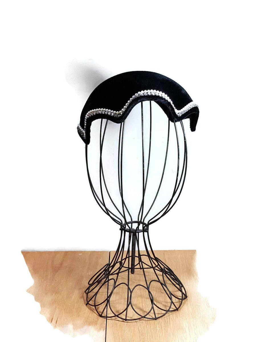 e52a911153aec LADIES CALOT HAT Black Velvet Cap with Pearls   Rhinestones Vintage Black  Hat Mid Century Dressy