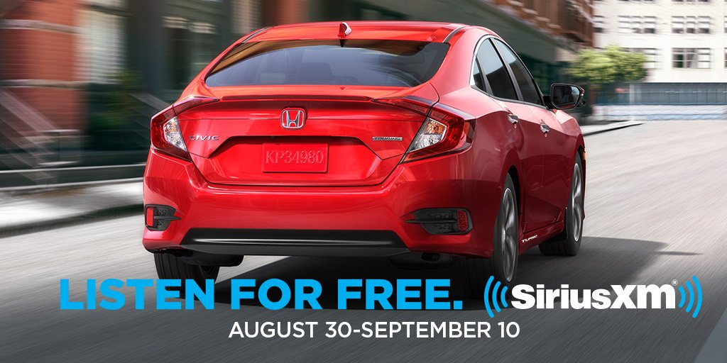HondaNation Drivers Your Longweekend Ride Is About To Get Even Better SiriusXMCanada Turning On Radios FREE Now Until Sept 10