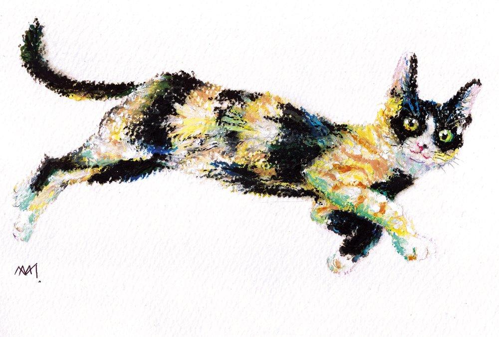 #信州猫日和 さんの #保護猫 #さくらもち さんです。#オイルパステル (今回は #ぺんてるパス )で描きました。模様がとても個性的でカワイイ子です。#illustration #cat #postcard にして他4点と一緒に納品しました。