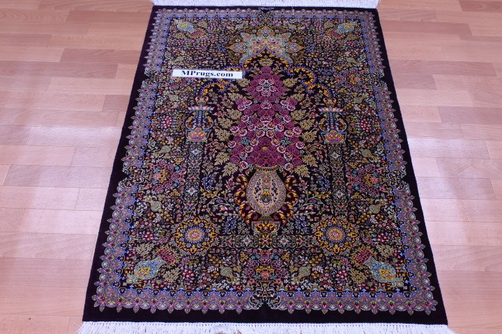 Stunning Pure Silk Qum Persian Rug With
