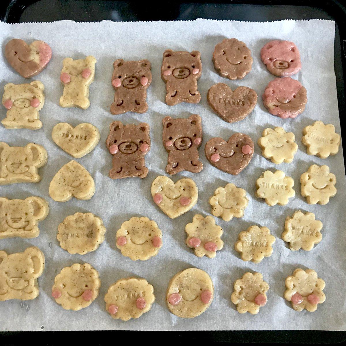 test ツイッターメディア - こどものおやつ。 3歳児と初めてのクッキー作り?? ほっぺたおかしな所に付いてるのもあるけど(笑)本人満足気でなにより。 クッキーなんてなん年ぶりに作った事か…二桁行くかも…?? #手作りおやつ #クッキー #娘と #お菓子作り  #セリア #クッキー型 #初体験 #お菓子作りデビュー https://t.co/ihfk1iCafo
