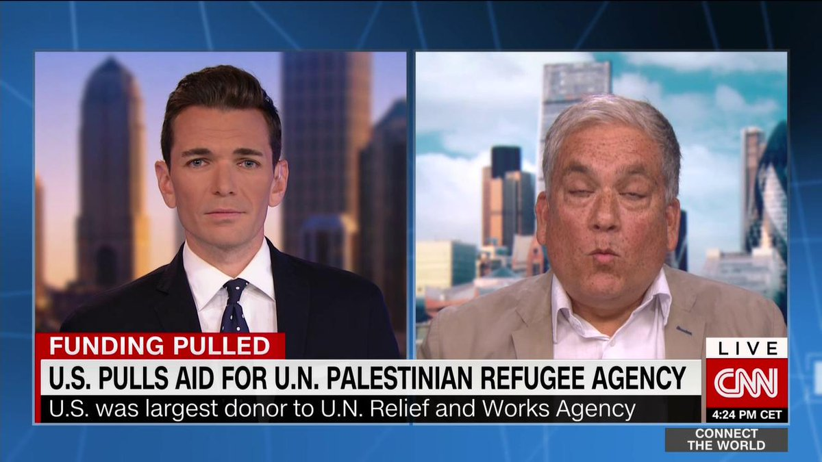 """""""We have a historic responsibility to [Palestinians],"""" @ChrisGunness tells @CyrilCNN as the #Trump administration ends funding for @UNRWA."""