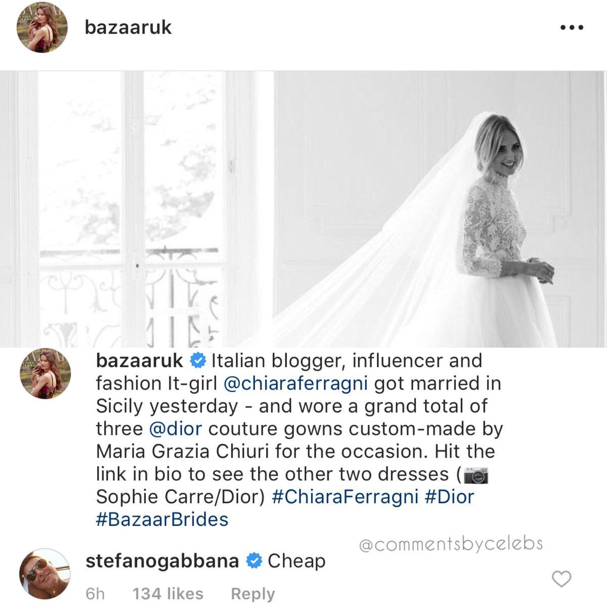 Stefano Gabbana Chiara Ferragni abito da sposa commento