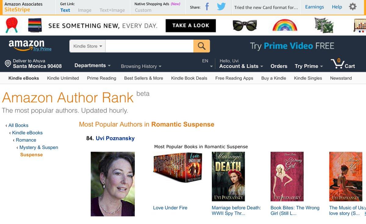 RT @UviPoznansky: Uvi ⚡ Amazing author rank in Romantic Suspense  #author #rank https://t.co/gUz4kr9FVN … https://t.co/ymv5Gv3GLq