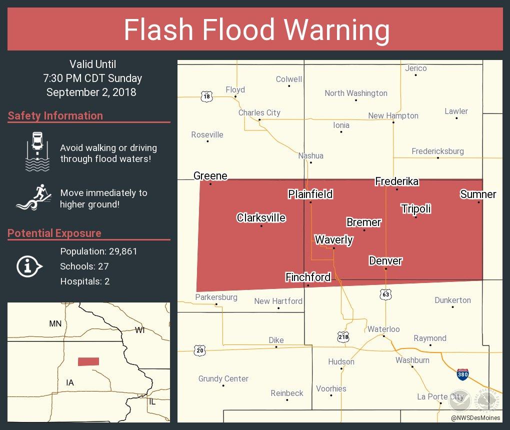 Sumner Iowa Map.Nws Des Moines On Twitter Flash Flood Warning Including Waverly Ia
