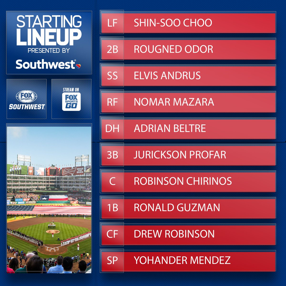 Here's a peak at the @Rangers Sunday lineup, presented by @SouthwestAir.  #TexasRangers | #SouthwestAirlines