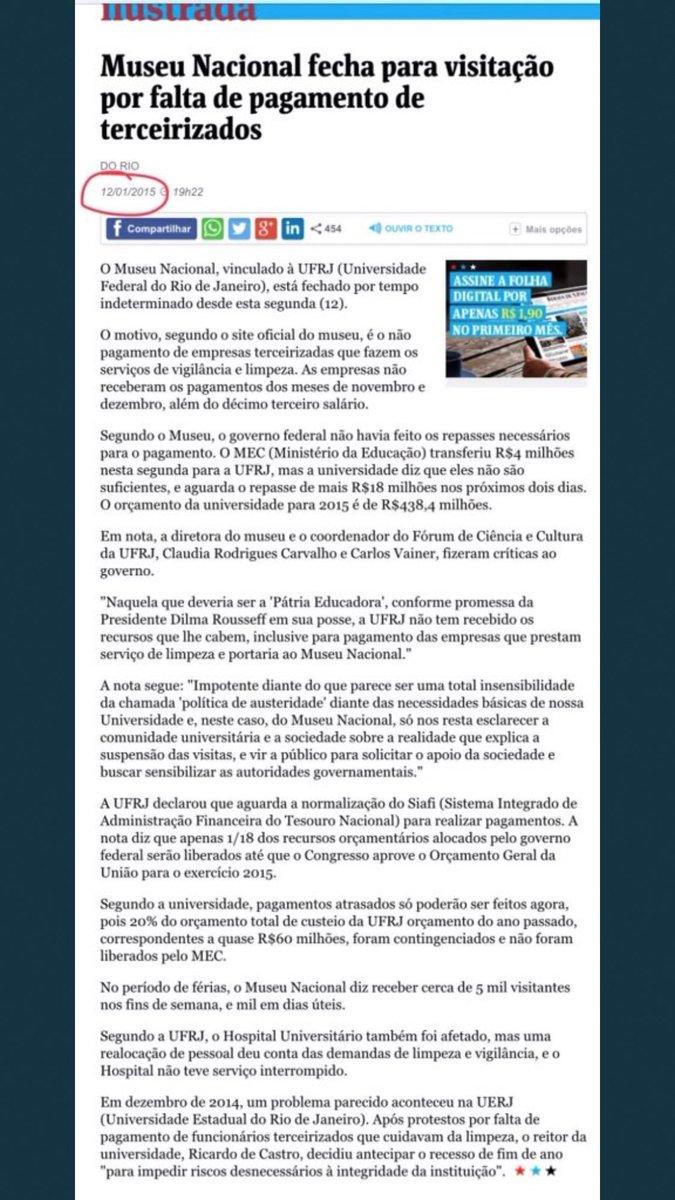 """Reportagem da  janeiro de 2015, época da """"Pátria Educadora"""" da inacreditável  mostrando o descaso com o Museu Nacional. Vergonha!"""