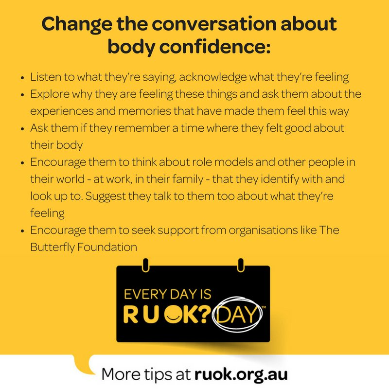 Get involved   https   thebutterflyfoundation.org.au support-us love-your-body-week  …   Loveyourbodyweek  Changetheconvo  RUOK  RUOKDaypic.twitter.com  ... 6717df098fdf9
