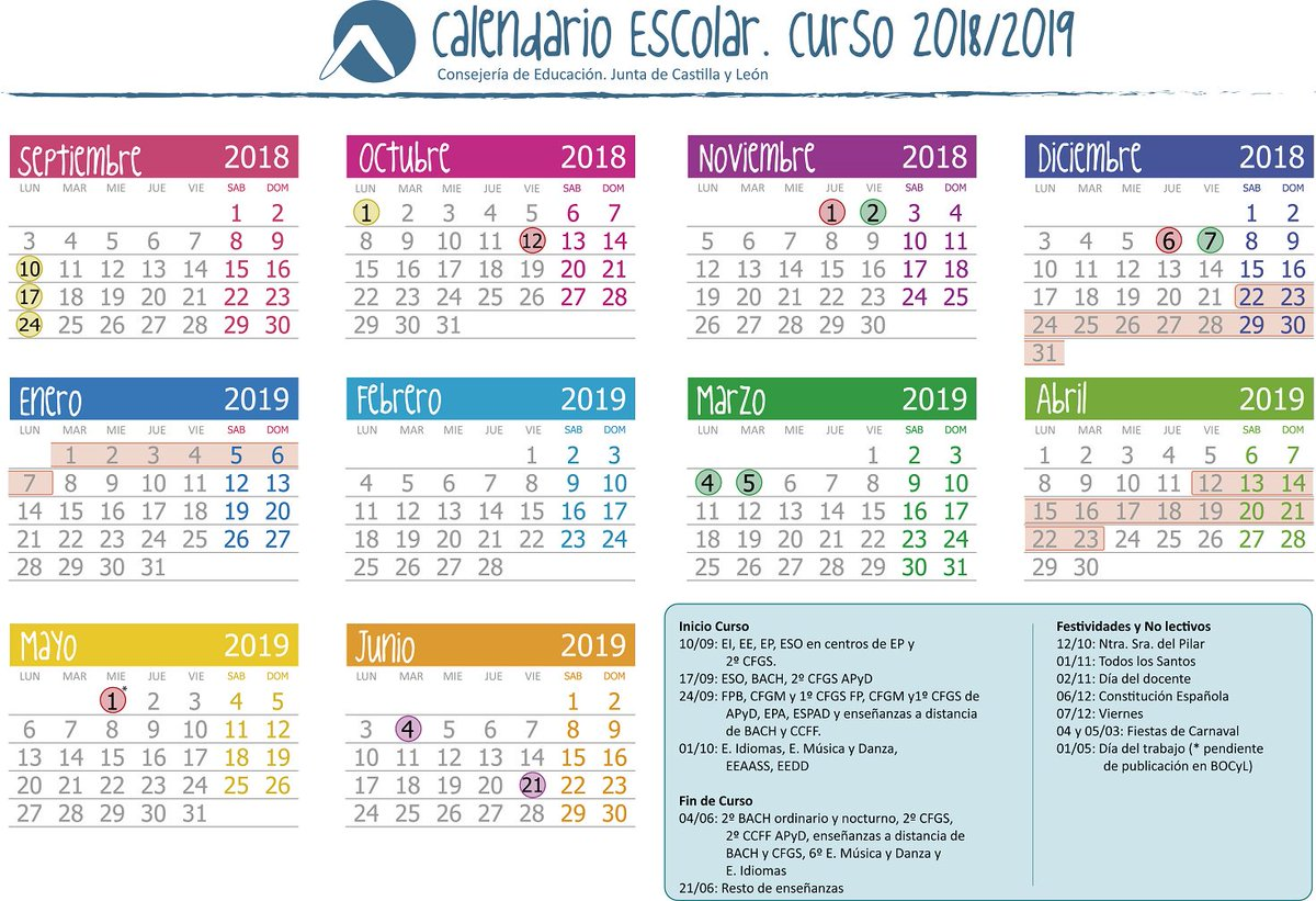 Calendario Educacyl.Comunicacion Jcyl On Twitter El Calendario Del Curso 2018 2019