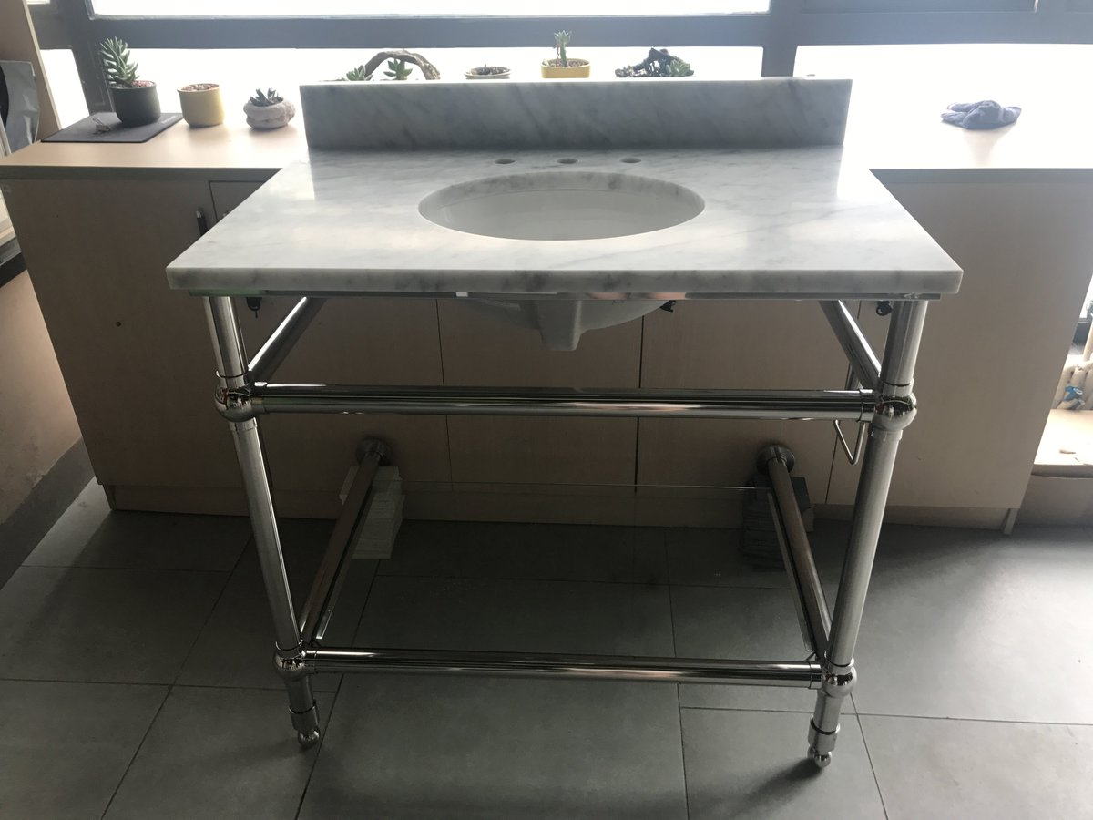 New Design White Carrara Marble Vanity Tops With 304 Stainless Steel Base For Hotel Bathroom