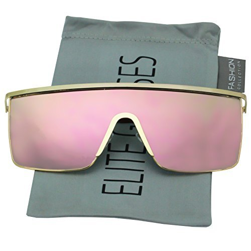 185aee2d3f Oversized Flat Top Square VINTAGE RETRO SHIELD VISOR Style Aviator  SUNGLASSES (Pink Mirror) ...