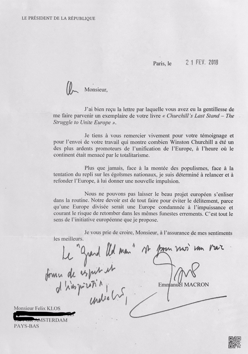 felix klos on twitter president macron sent me this letter re my