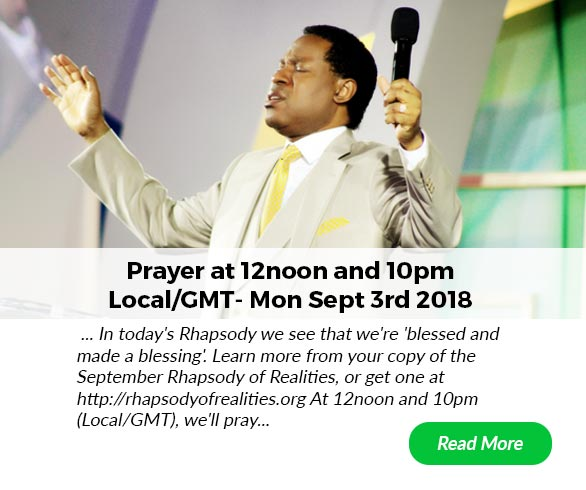 Pray with Pastor Chris at 12noon and 10pm (Local/GMT) - Mon Sept 3rd... Click link to read prayer post http://bit.ly/pray_with_pastorchris…
