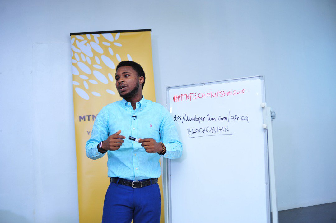 Live at the @MTNFoundationNG empowerment and employability workshop, we have got @femiolaoso talking the scholars through blockchain technology, how it works and how they can use the technology to their advantage. #MTNFScholarships2018 https://t.co/I6xwgPYKvi