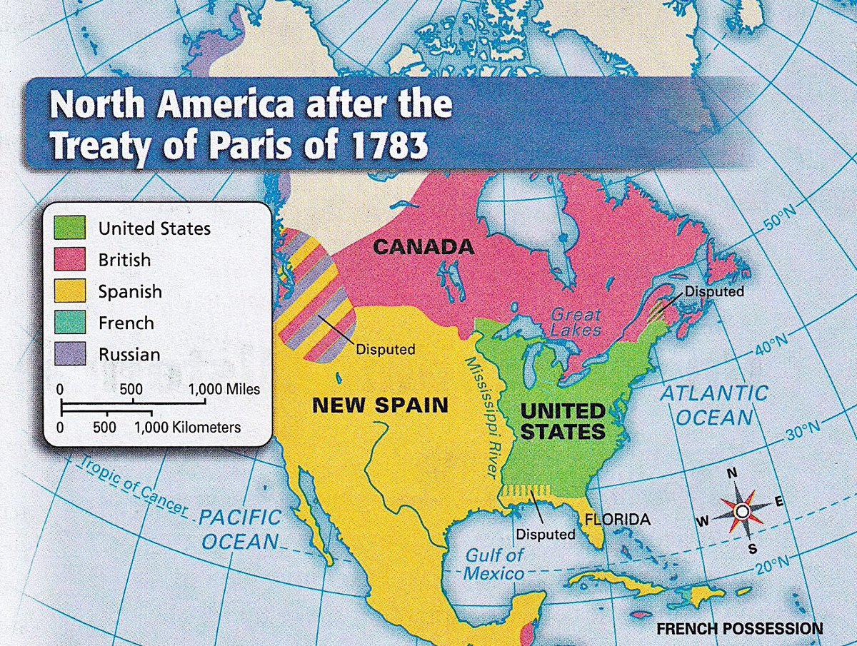 Treaty Of Paris Map 1783.Retronewsnow On Twitter Map Of North America Following The Treaty