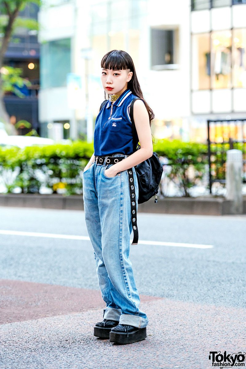 7ba91017dc7 japanese high school student beni on the street in harajuku wearing a  vintage sleeveless top with
