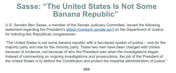 """GOP Sen. Ben Sasse suggests Trump's tweets about Sessions hurting GOP congressmen akin to a """"banana republic"""" https://t.co/mVEQRzGlAo"""