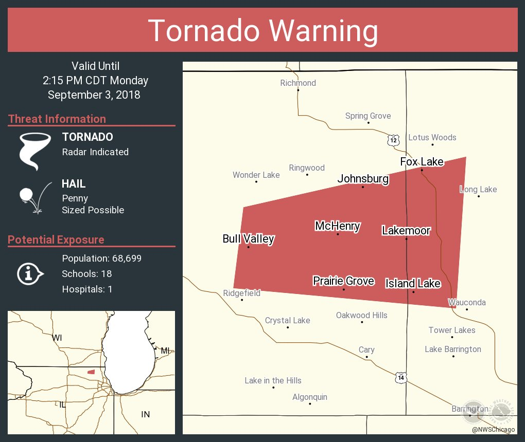 Nws Chicago On Twitter Tornado Warning Including Mchenry Il Fox