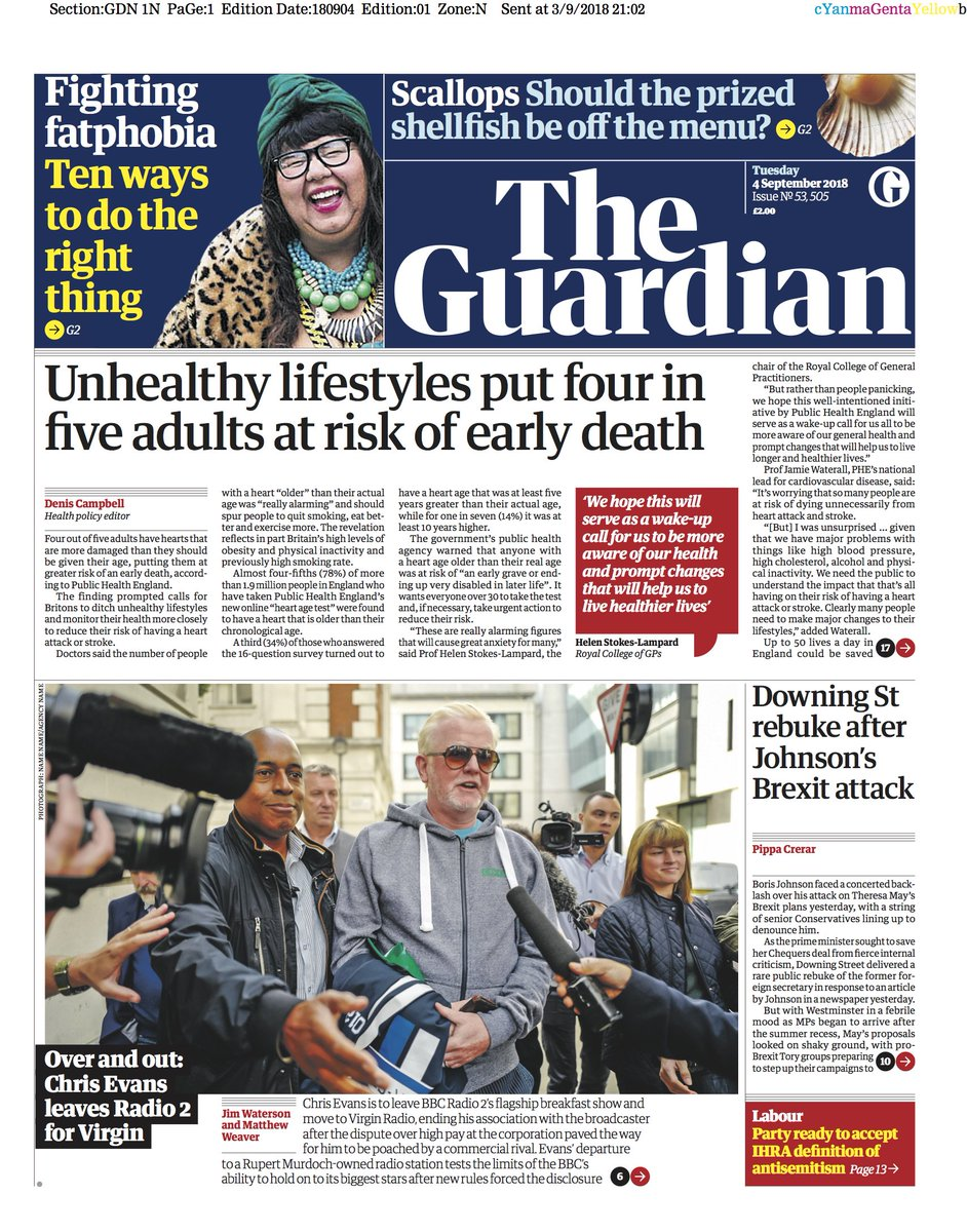The Guardian On Twitter Front Page Tuesday 4 September 2018 Unhealthy Lifestyles Put Four In Five Adults At Risk Of Early Death