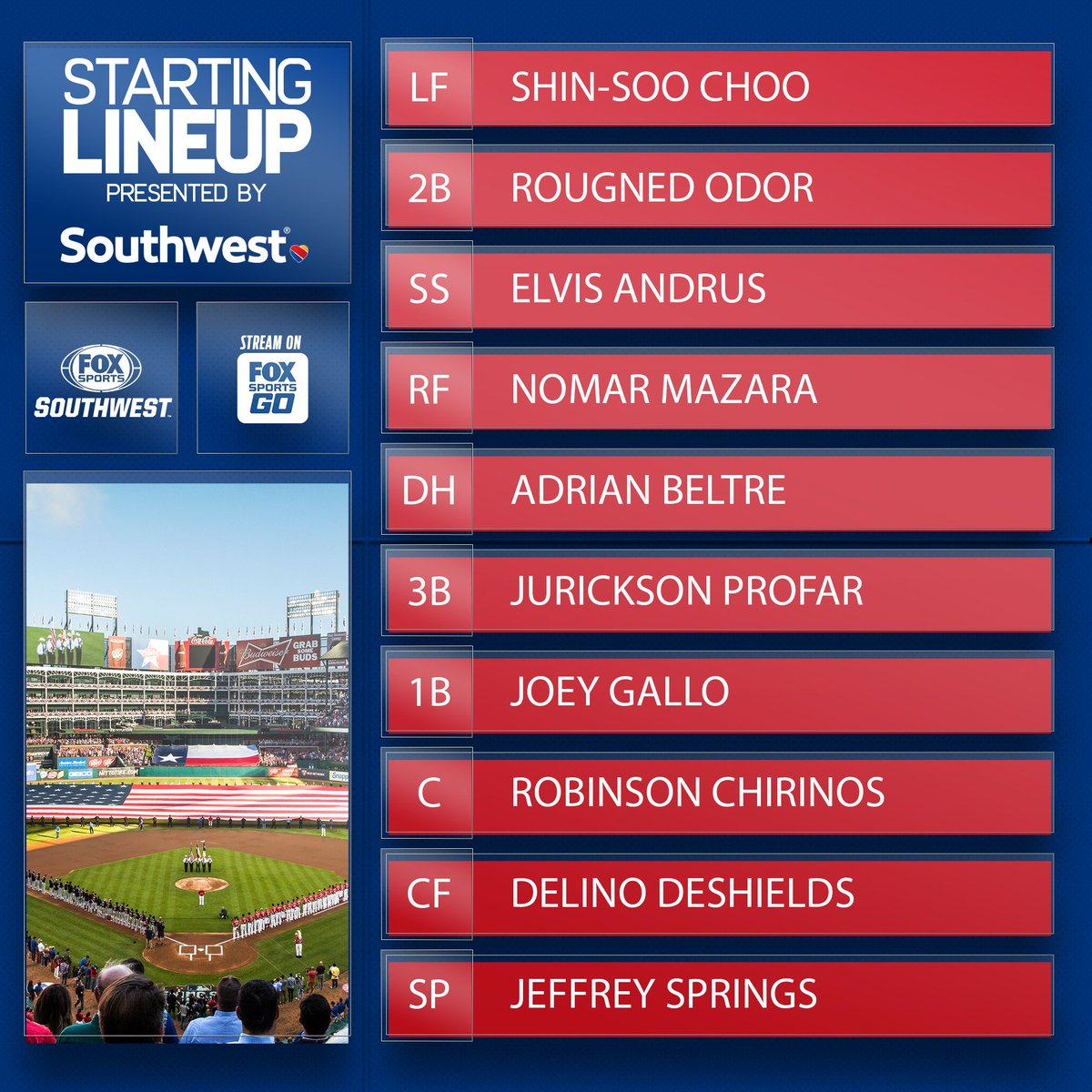 This Rangers Labor Day lineup is presented by the good folks at @SouthwestAir.  #SouthwestAirlines | #TexasRangers