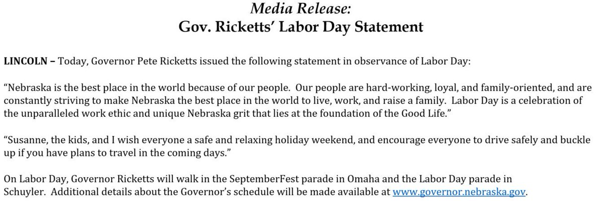 Gov Pete Ricketts On Twitter Happy Laborday Read My Full Labor