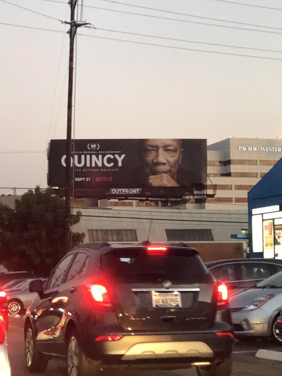"""If you see a Billboard in LA please tag us so we can see! There r 8 of them. The @Netflix original documentary """"Quincy"""" directed by @iamrashidajones & @alhicksfilm and produced by @pauladupre goes live on the service on Sept 21 and has its world premiere at @TIFF_NET this Sunday."""