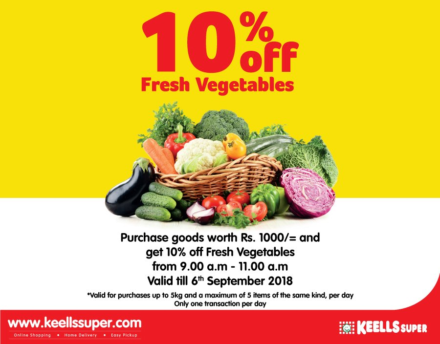 Purchase goods worth of Rs.1000 and enjoy a flat 10% off on Fresh vegetables from 9.00am - 11.00am.  Offer valid till 6th September 2018.  T&C Apply https://t.co/KGOZx3kIqy