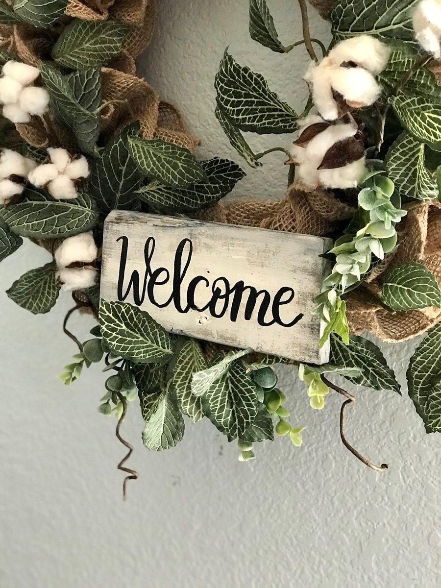 Farmhouse Cotton Boll Burlap Wreath