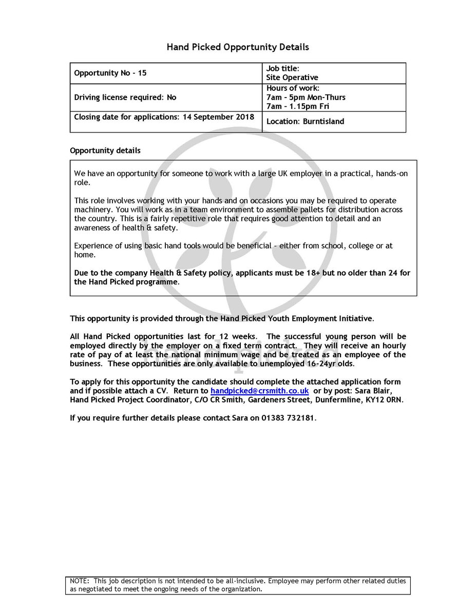 Dyw Fife On Twitter Some Great Opportunities With Handpicked For 16 24 Year Olds Not Currently In Employment For More Info And To Apply Visit Here Https T Co Mixgmheax8 Application Forms Are Also Attached