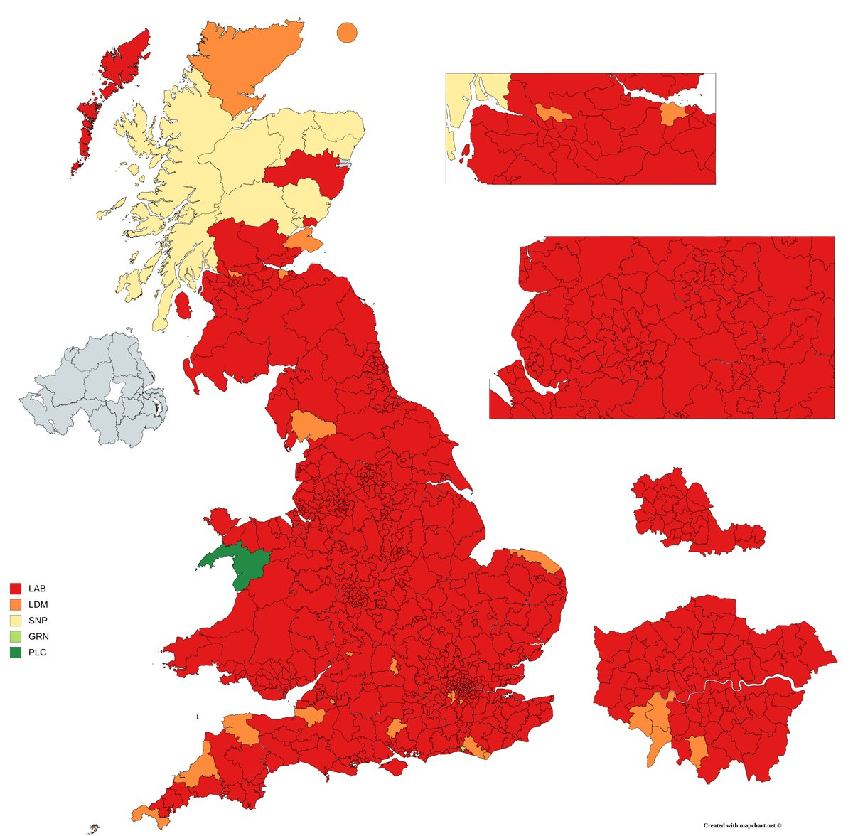 Image result for Map of UK election if only under 40s voted