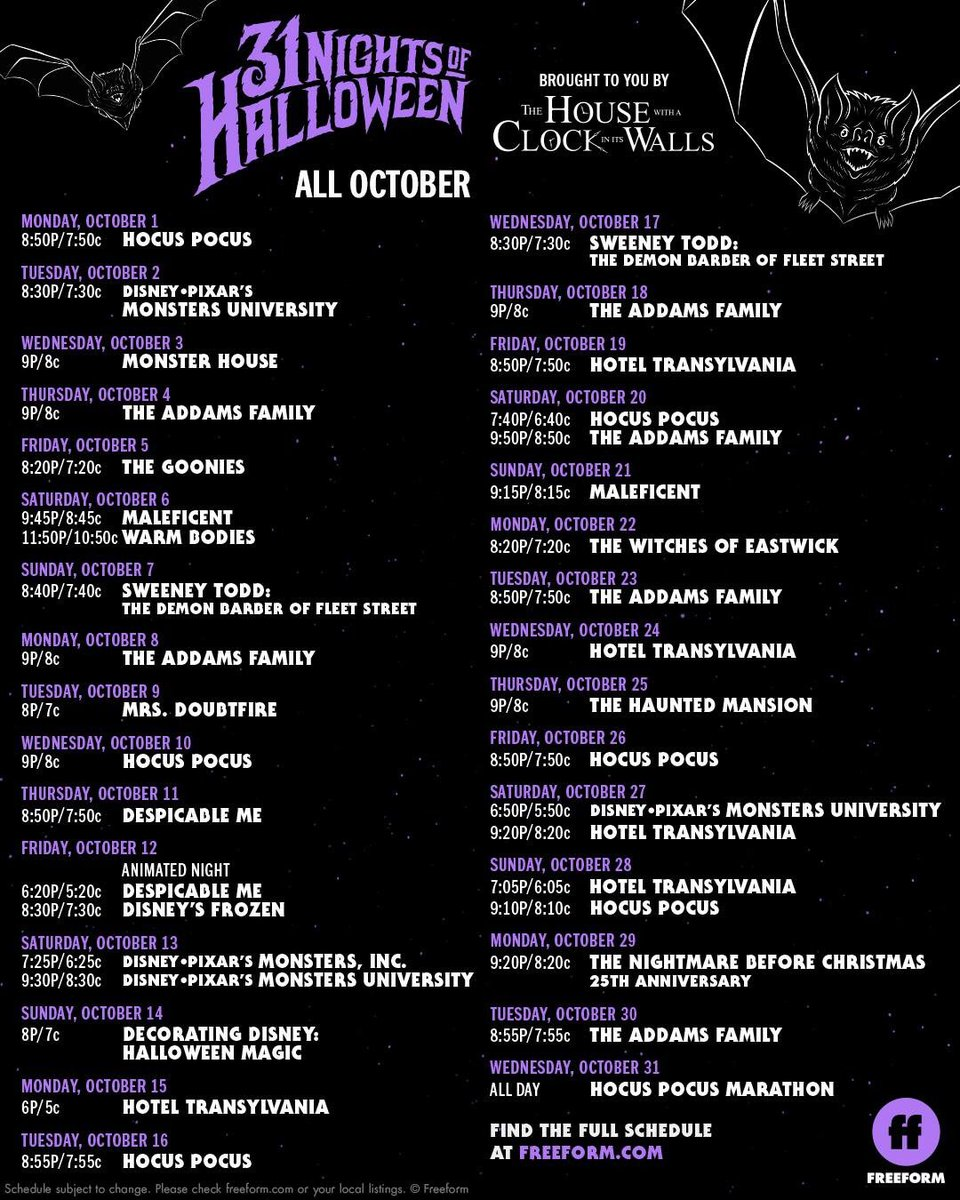 twitter abc family changed their 13 nights of halloween to 31 nights of halloween starting october 1st this is not a drill me whew chile ill