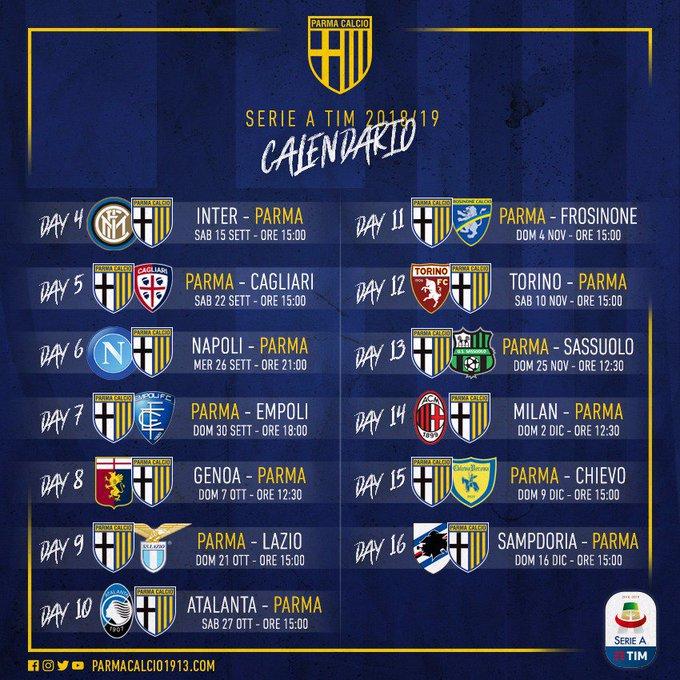 Calendario 10 Giornata Serie A.Anticipi E Posticipi Il Calendario Del Parma Fino Alla 16
